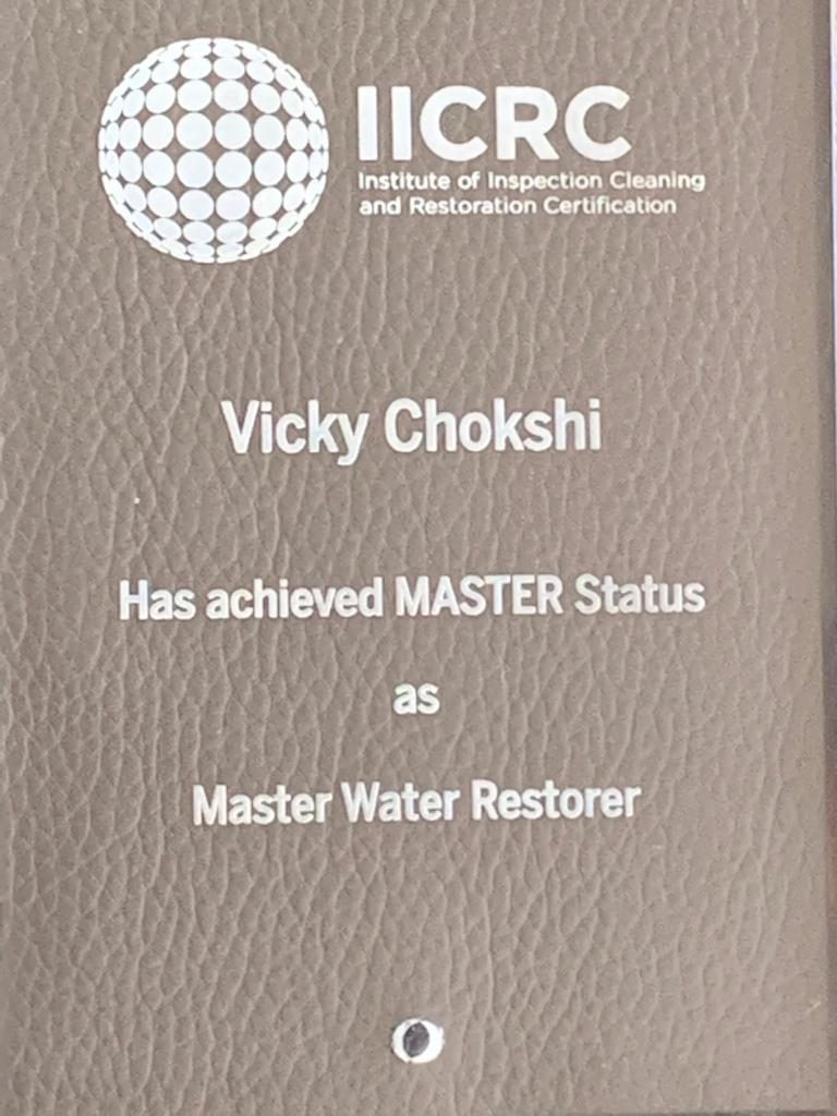 Master Water Restorer Award to Vicky Chokshi from IICRC