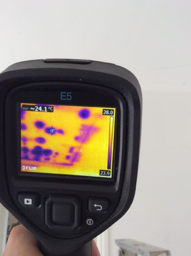Thermal image of water damaged ceiling 1